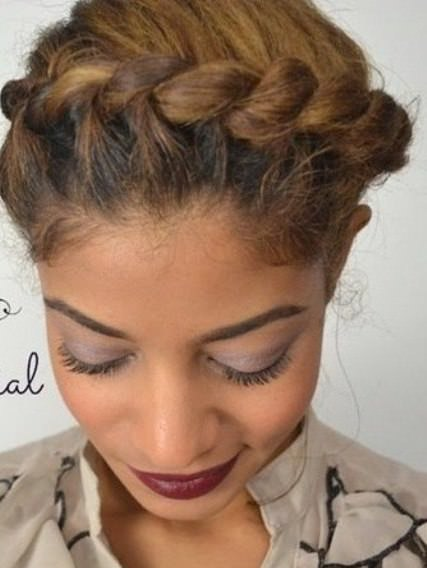 Rope twist halo braid updos for natural hair