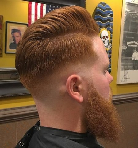 Shaved with Side Part Pomp Shaved Sides Hairstyles and Haircuts for Men