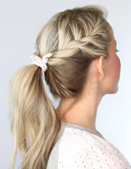 Side ponytail with a twist french braid hairstyles