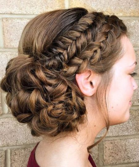 Two braids and curly bun hairstyles