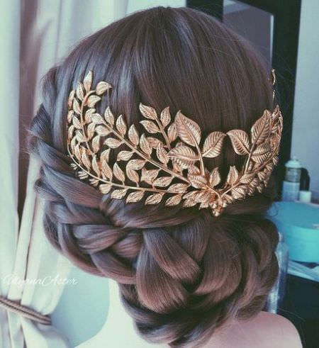 Woven braided bun hairstyles for brides and bridesmaids