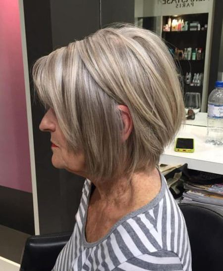 ash blonde layered haircuts for women over 60