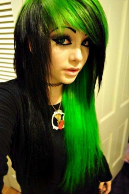 black green emo hairstyles for girls
