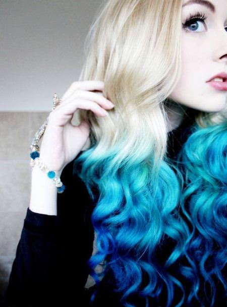 blonde hair with ends dipped in blue emo hairstyles for girls