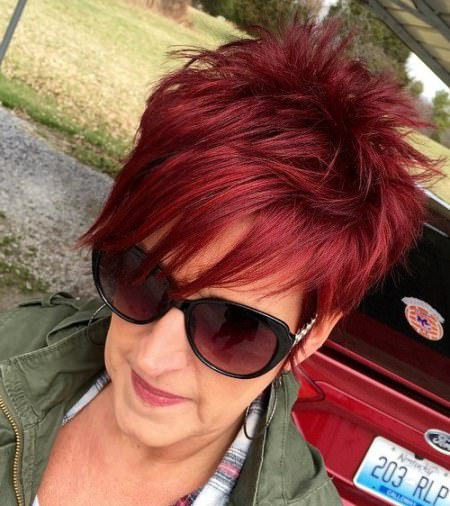 bold and spiky pixie hairstyles for older women