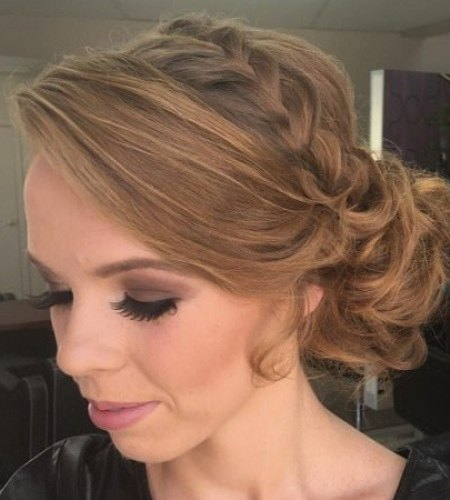 braided crown and curly bun side bun hairstyles