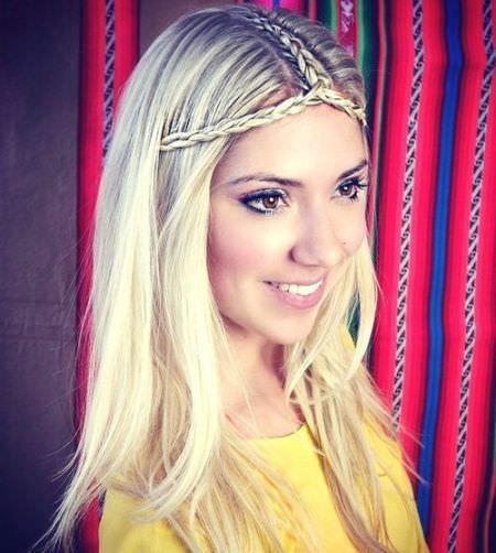 braided parting and headband Long Straight Hairstyles and Haircuts