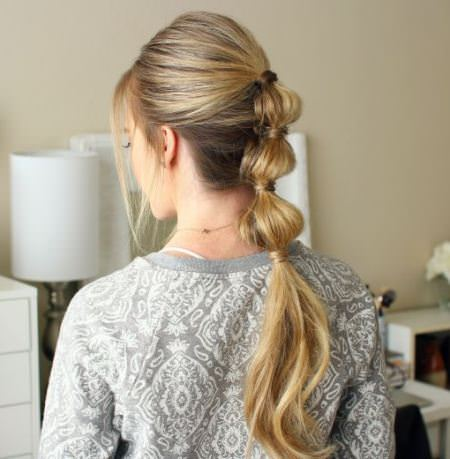 bubble ponytail celebrity looks with long blonde hairstyles