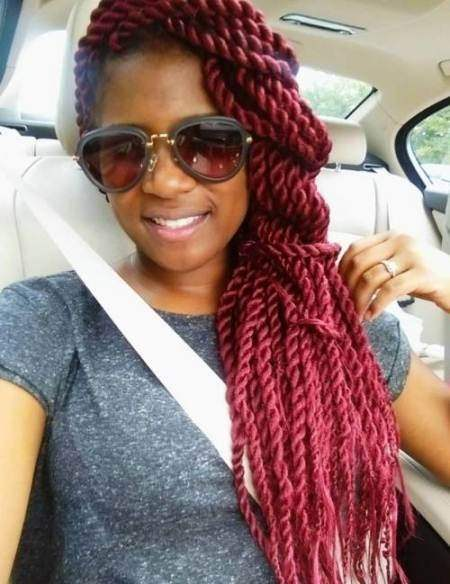 burgundy Senegalese twist over one shoulder hairstyles for natural hair