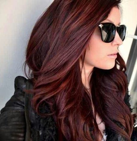 burgundy shades of red hair for women