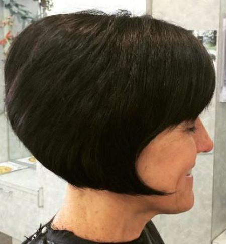 coal black angled bob with bangs short fringe Hairstyles