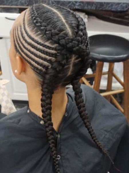 criss crossed braid with feed in cornrow black braided hairstyles