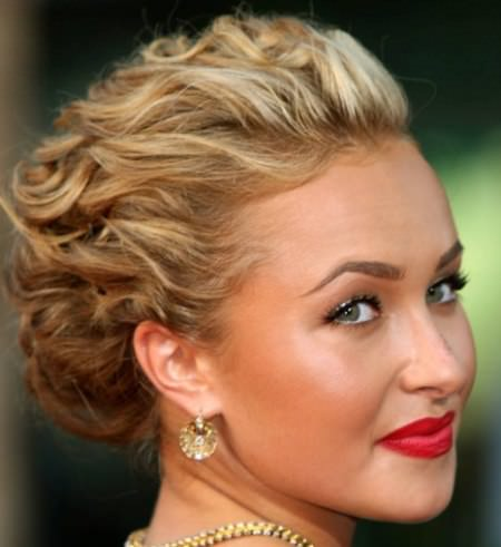 curly updo medium length hairstyles for women