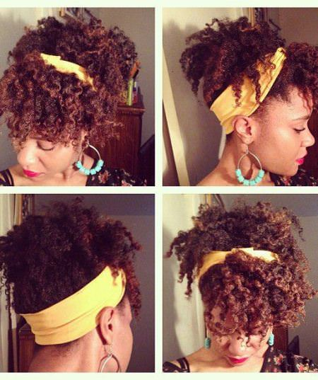 cute headband with curly bangs updos for natural hair