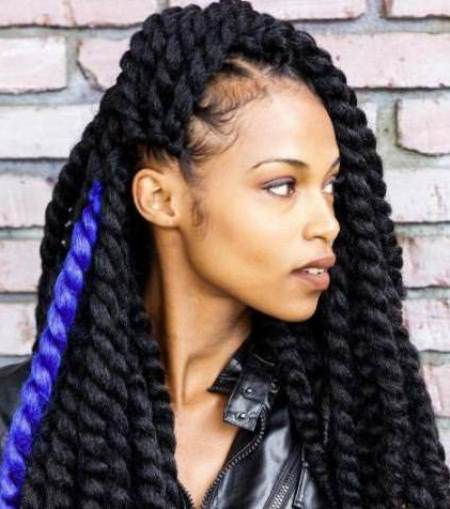 dark twisted braids with a blue accent hairstyles for natural hair