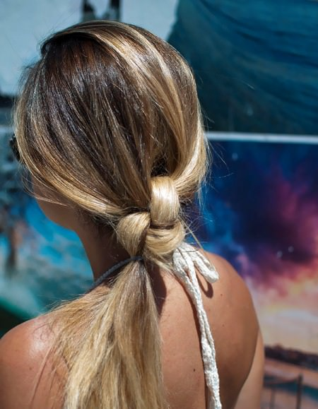double knot ponytail updos for long hair