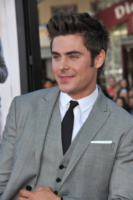 elongated short haircut with sideburn Zac Efron Hairstyles