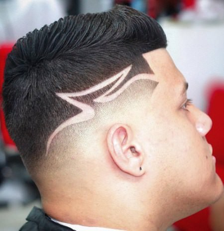 fade with shaved design Shaved Sides Hairstyles and Haircuts for Men