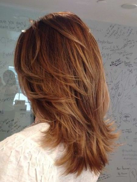 feathered V layers medium length hairstyles for women