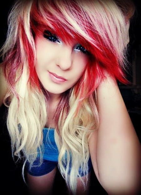 fiery red and platinum emo hairstyles for girls