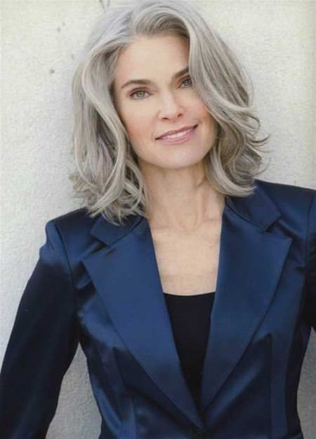gray lob with long layers hairstyles for gray hair