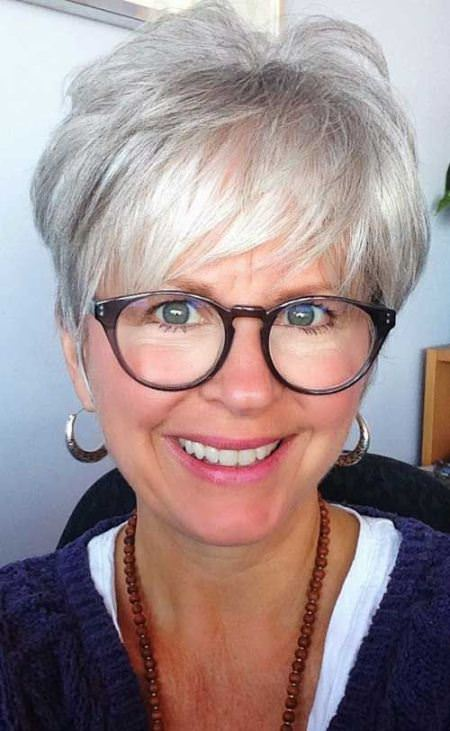 gray pixie with swoopy bangs hairstyles for older women