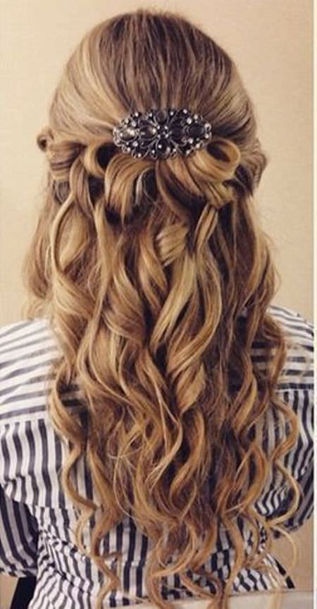 half updo with curls hairstyles for brides and bridesmaids