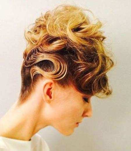 highlighted updo with messy loops bun hairstyles