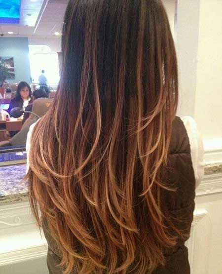 layered ombre long haircuts for women