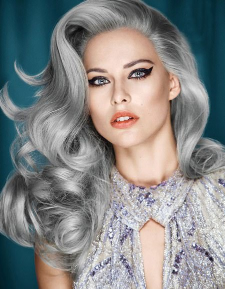 long salt and pepper curls hairstyles for gray hair