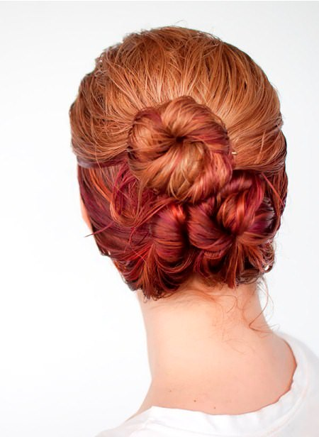 loose triple bun hairstyles for long thick hair