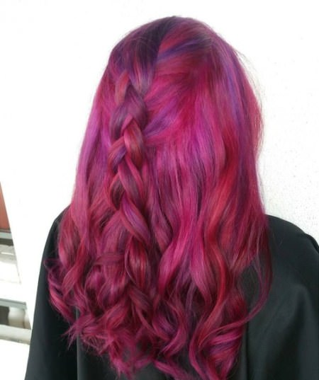 loosely braided curls long red hairstyles