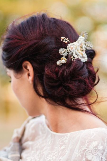 low messy chignon bridal hairstyles