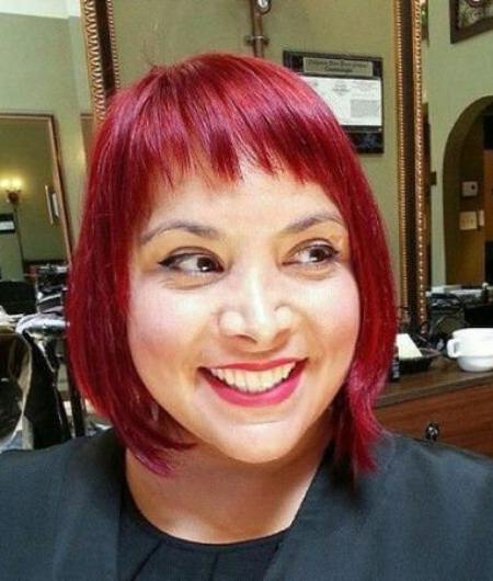magenta bob with medium bangs short fringe Hairstyles