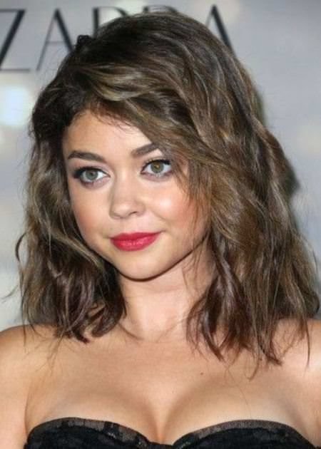 medium hairstyle with choppy bangs medium hairstyles for round faces