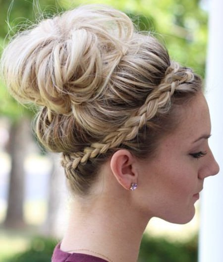 messy bun with a crown braid updos for long hair