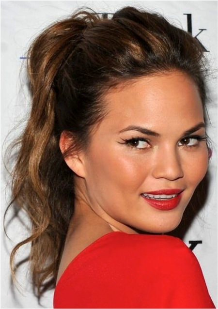 messy ponytail brunette hairstyles