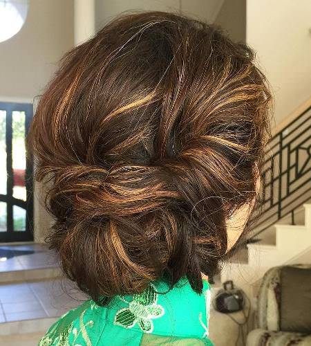 messy tucked chignon hairstyles for brides and bridesmaids