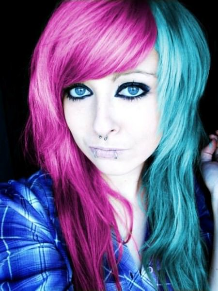 multi colored emo hairstyles for girls