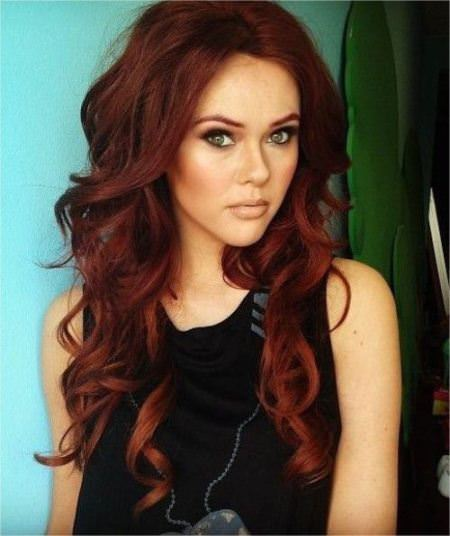 naughty red loose curls long red hairstyles