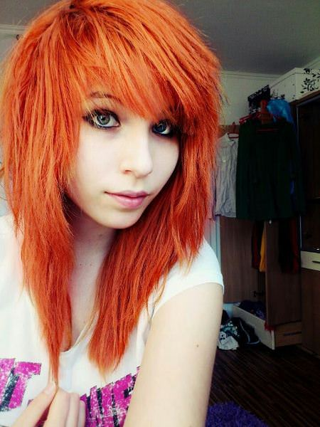 orange hair with heavy bangs emo hairstyles for girls