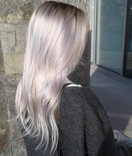 pearly platinum blonde and white hair