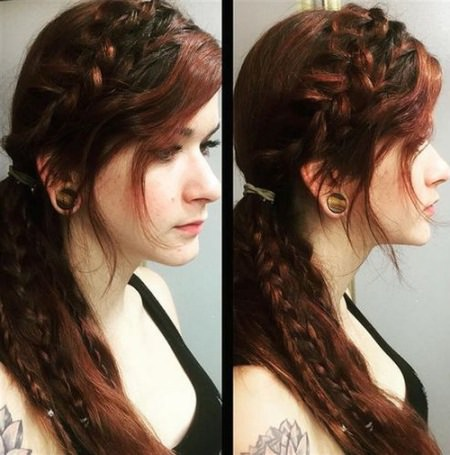ponytail with fishtail braids and bangs ponytails with bangs