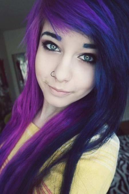 purple layered emo hairstyles for girls