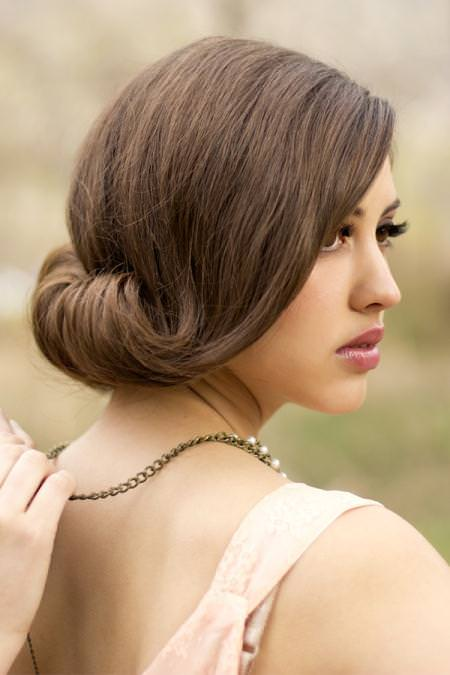 rolled inside chignon bridal hairstyles
