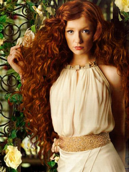 romantic curls long red hairstyles