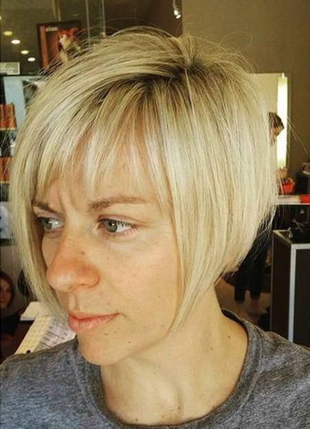 short and pointed angled blonde bob short fringe Hairstyles
