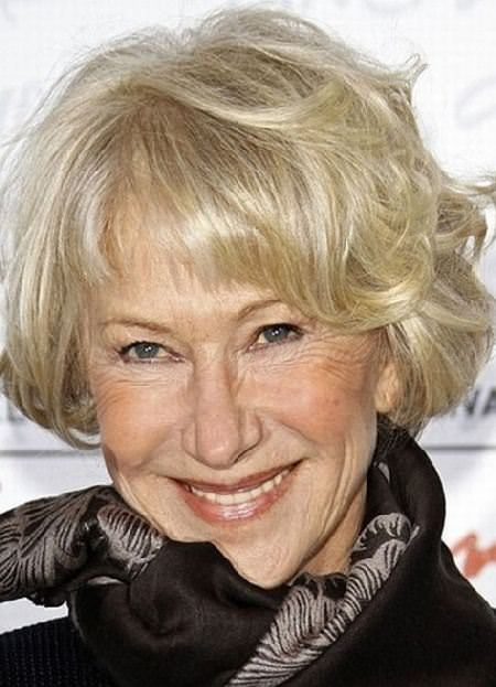 short wavy bob with bangs haircuts for women over 60