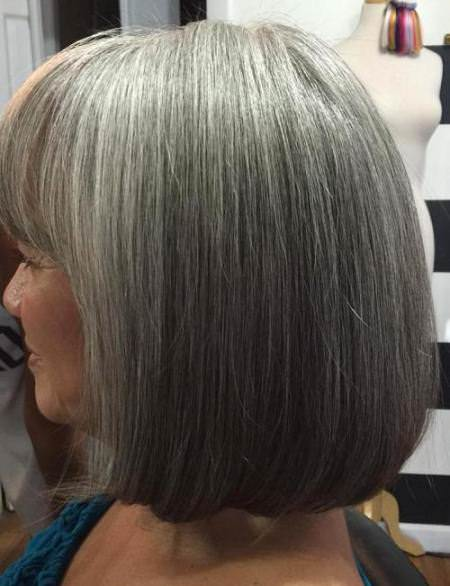 silver sleek bob with blunt bangs hairstyles for gray hair