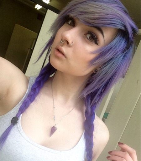 simple braids with side swept bangs emo hairstyles for girls